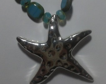 Jewelry-Turquoise Bead Necklace with Silver Starfish Pendant