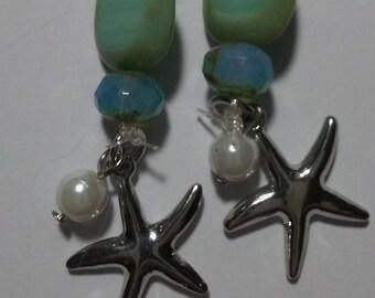 Jewelry: Aqua/Turquoise Bead Earring with Silver Starfish & Pearl Charm