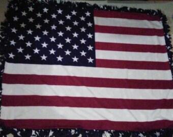 Fleece Tie Blanket: USA Flag with Stars on Back