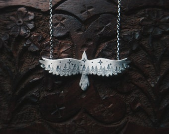 Raven Necklace, Silver Raven Pendant, Silver Forest Pendant, Starry Night Pendant, Witchy Necklace, Witchy Jewelry, Raven Jewelry