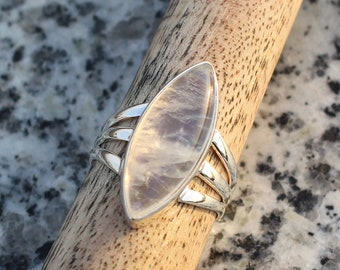 Luna Azure Precious Natural Prehnite and 925 Sterling Silver Carved Vintage Ring Women Girls Gift Present Jewelry