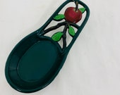 Cast Iron Spoon Rest, Green Cast Iron Spoon Test with Red Apple Theme, China 0DI002S