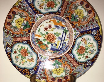 Rare Oriental Red /& Blue Gilded Collectible Porcelain Plate 10.5 Inchs Japan