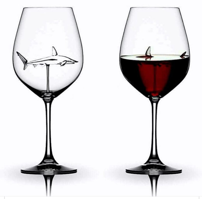 The 3D Shark Wine Glass Crystal Lead-Free SHIPS TODAY  image 0