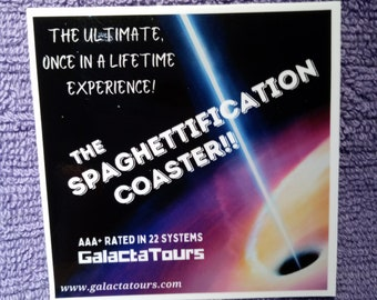 GalactaTours Galactic Travel Luggage Stickers - Spaghettification Coaster - MADE IN USA - water bottle-hydro flask-laptop-phone-notebooks