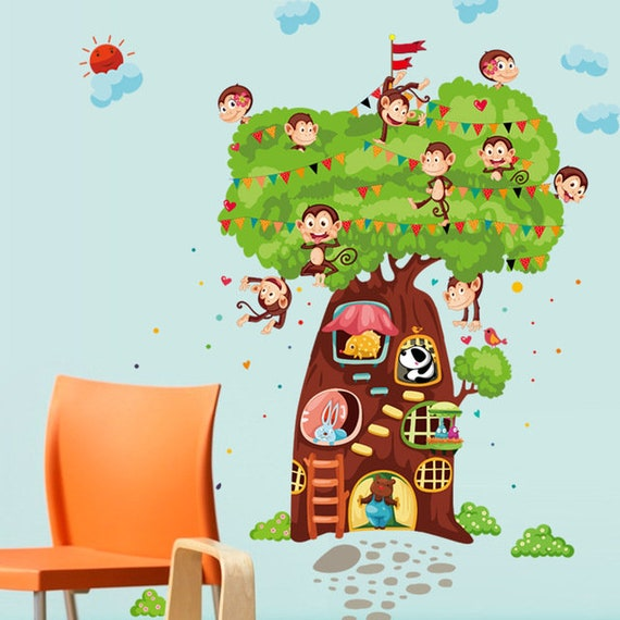 Monkey Tree House Wall decal Removable sticker home art kids nursery baby decor