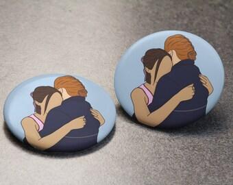 WayHaught Hug Button | Wynonna Earp | Waverly Earp | Nicole Haught | Pin Badge