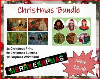 Earpmas Christmas Bundle | Pin Badges | Buttons | Print | Postcard | Adjustable Wristband