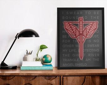 Angel Shield Text Print | Wynonna Earp | Pride | Earper | Print | Art | Postcard | Purgatory
