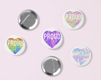 Proud Pride Buttons | LGBTQ | Pin Badges