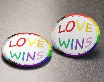 Love Wins Pride Button | LGBTQIA | Pin Badge