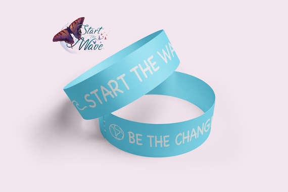 Dominique PC Charity Start The Wave Adjustable Wristband /& Print Bundle
