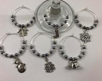 Christmas wine glass charms, set of 6