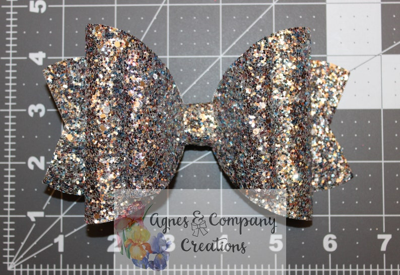 Olivia Large Double Loop Silver Pink Blue Multi Chunky Glitter Hair Bow Clip 6 inch