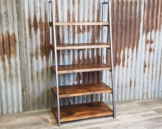Industrial free standing ladder shelving unit, lean to bespoke shelving units, freestanding wood book shelves