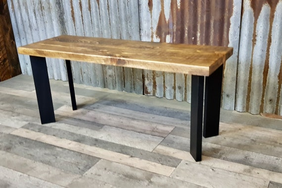 NEW!!! Modern Industrial style bench with single pin legs, retro wooden bench seating, hairpin leg bench
