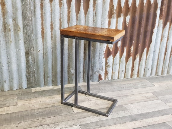 rustic industrial sofa side table, wooden C-shaped lap table, bespoke modern sofa side table, contemporary sofa table