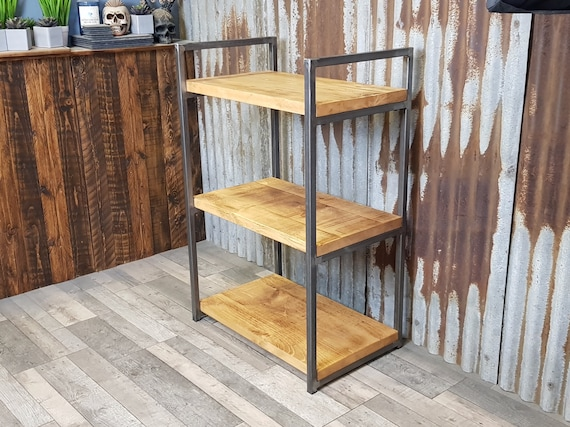 Modern Industrial style shelving unit, freestanding bookshelves, solid wood bookcase