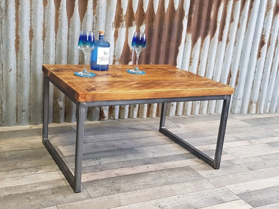 Industrial reclaimed Calia style coffee table, solid wood coffee table, coffee table with steel base, bespoke living room furniture