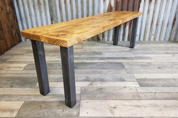 Modern Industrial style bench with steel chunky legs, Rustic style bench, wooden bench seating