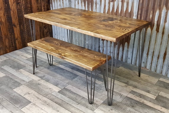 NEW! Modern Industrial reclaimed dining table with hairpin legs, rustic dining table and bench package, reclaimed wood dining table