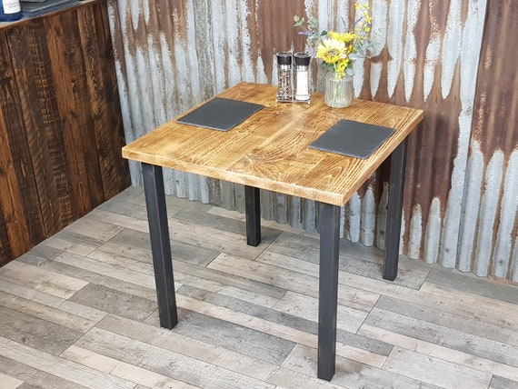 NEW! Square industrial reclaimed dining table with square legs, square bistro table, reclaimed wood dining table