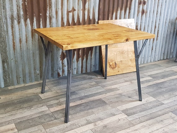 Extending dining table with RUNE legs, industrial style dining table with hairpin style legs, extendable wood dining table