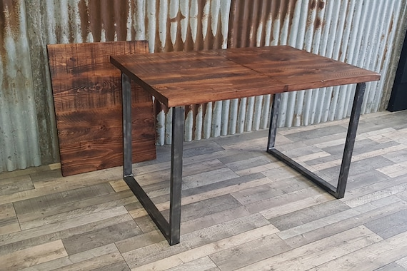 extending dining table with loop style legs, industrial style dining table, extendable wood dining table