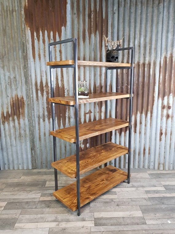 industrial style shelving unit, freestanding bookshelves, solid wood bookcase