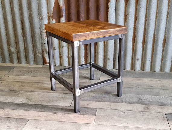 industrial inspired side table, handmade modern wooden end table, bespoke bedside table