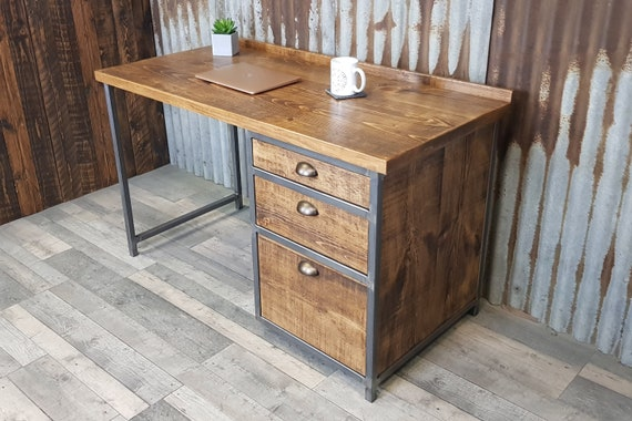 NEW!!! Industrial rustic desk with A4 suspension file drawer, pedestal desk with filing drwaer, desk with filing cabinet drawers