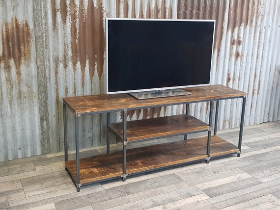 Industrial-inspired TV unit with storage, rustic reclaimed style TV bench, media unit with vinyl storage