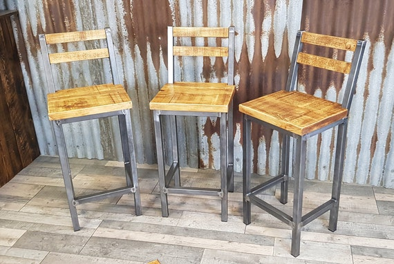 Industrial style bar stools for high poseur tables, breakfast bar stools, industrial style high stools