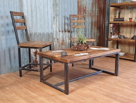 Industrial reclaimed style coffee table, solid wood coffee table, bespoke living room furniture