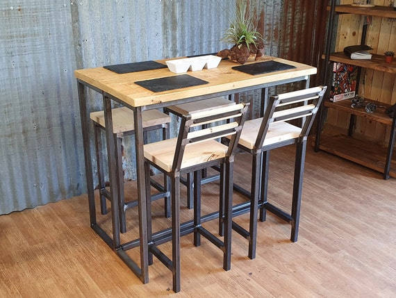 Industrial reclaimed high poseur table, rustic industrial breakfast bar