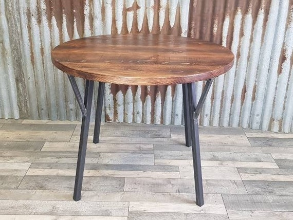 Industrial round dining table with Rune legs, Round hairpin leg dining table, square bistro table