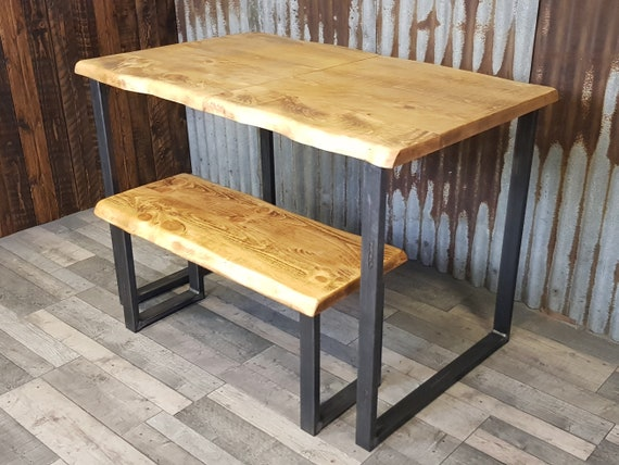 NEW!!! 'Live Edge' Extending dining table with loop legs, live edge dining table, extendable table