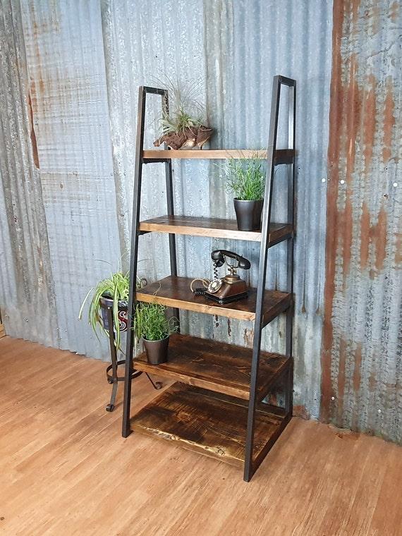 Industrial free standing ladder shelving unit, lean to bespoke shelving units, freestanding wood book shelves