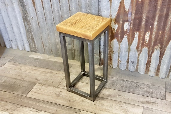 Rustic industrial side table plant stand, wooden plant stand, bespoke modern sofa side table, contemporary sofa table