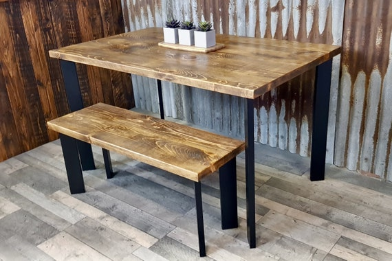 NEW! Modern Industrial reclaimed dining table with boxpin legs, rustic dining table and bench package, reclaimed wood dining table