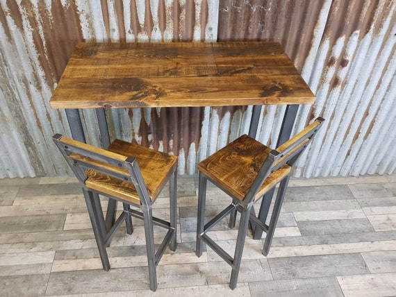 Industrial style breakfast bar, industrial poseur table, breakfast bar and matching stools