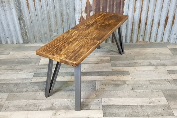 NEW!!! Modern Industrial style bench with box hairpin legs, retro wooden bench seating, hairpin leg bench