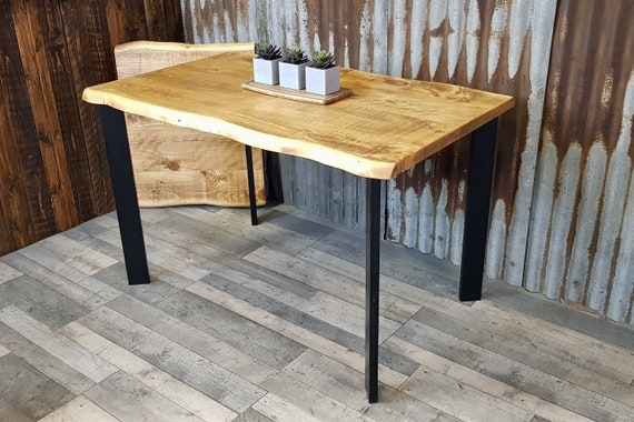 NEW!!! 'Live Edge' Extending dining table with steel legs, live edge dining table, extendable table