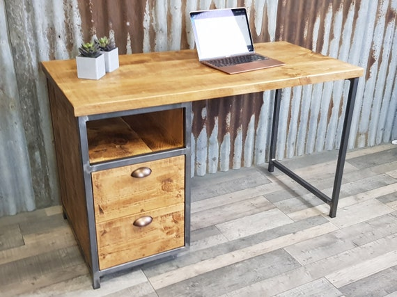 NEW!! Industrial rustic desk with storage, compact desk for home office, desk with shelf storage