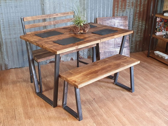 Calia style dining table, industrial style dining table, table and bench sets, table and chairs