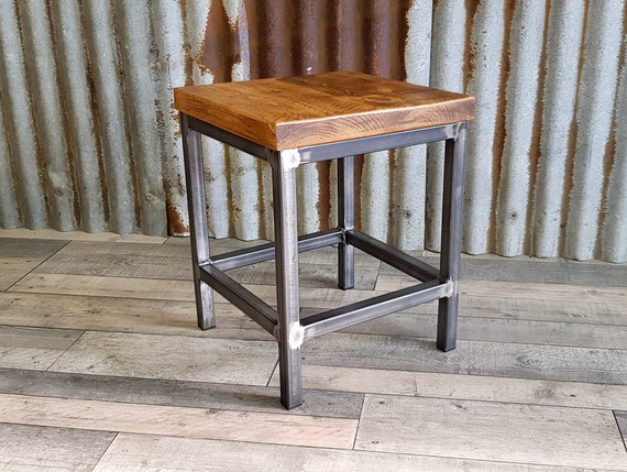 industrial inspired stool, handmade modern wooden stool, bespoke dining and kitchen chairs