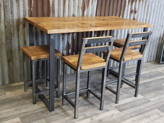 NEW! Industrial style breakfast bar, industrial poseur table, breakfast bar and matching stools