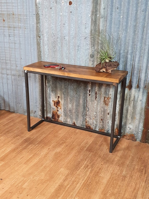 hallway table wood industrial style, slimline console table, bespoke entryway furniture,