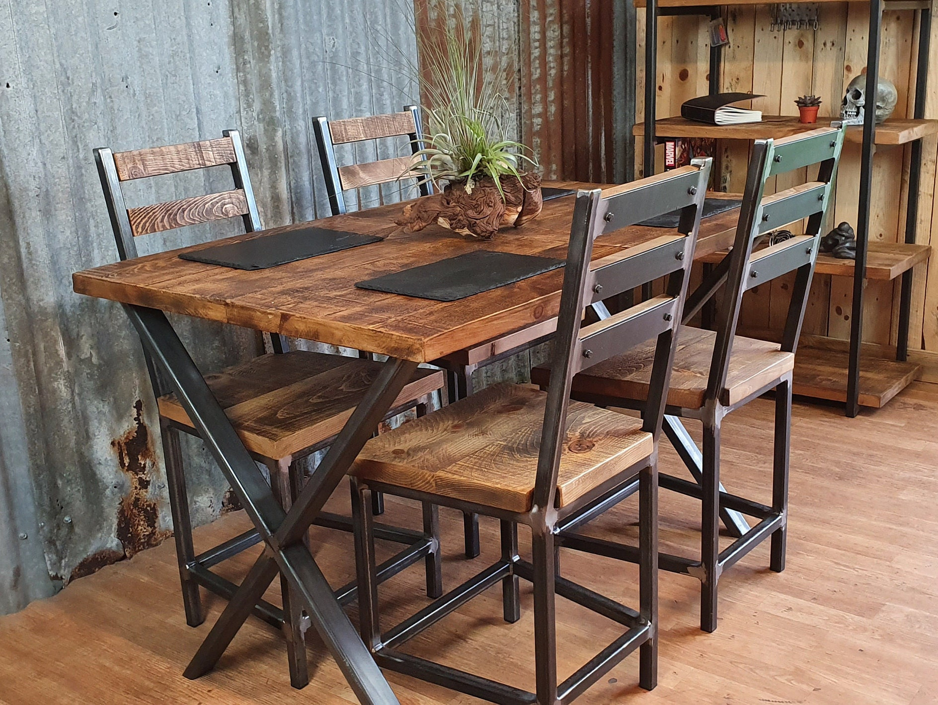 Extendable Dining Table With X Style, Industrial Look Dining Room Chairs