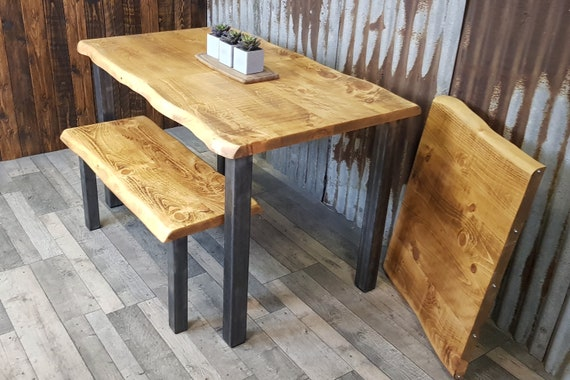 NEW!!!! live edge extending table with straight steel legs, live edge dining table, extendable table